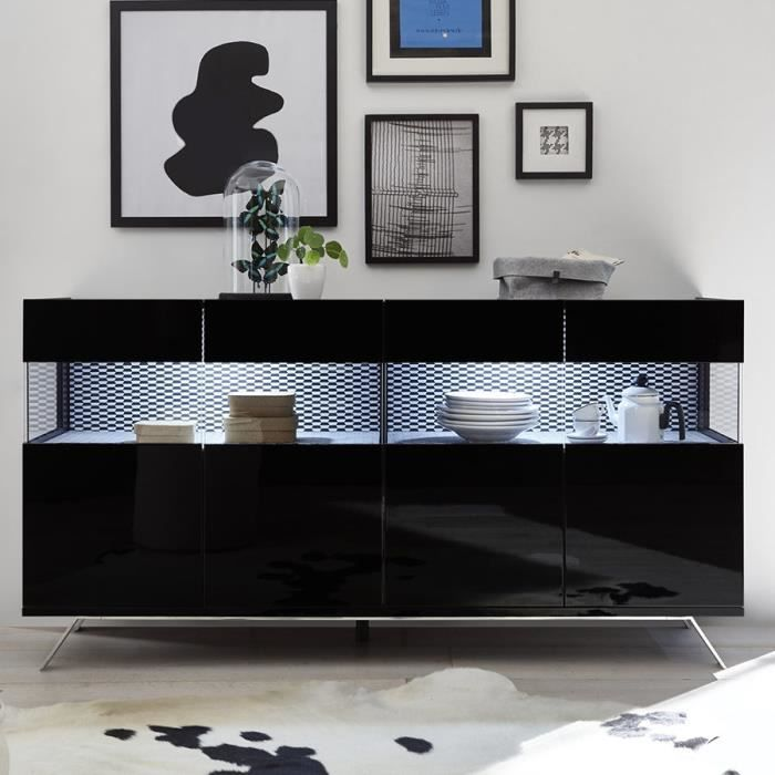 BUFFET - BAHUT  Bahut avec LED 180 cm design noir ROSINI 7 L 184 x