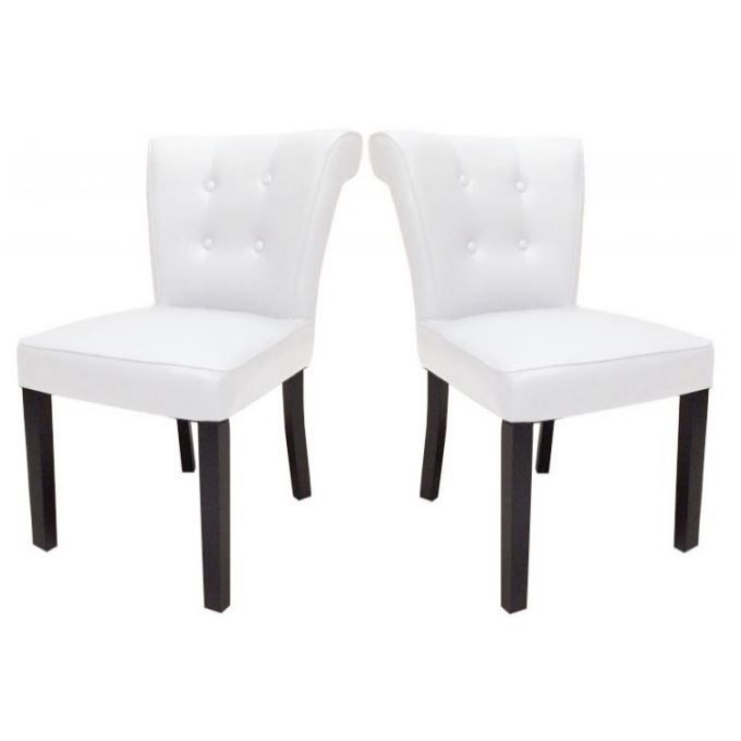 lot de 2 chaises capitonn es pu blanc boudoir achat vente chaise blanc soldes d hiver d s. Black Bedroom Furniture Sets. Home Design Ideas