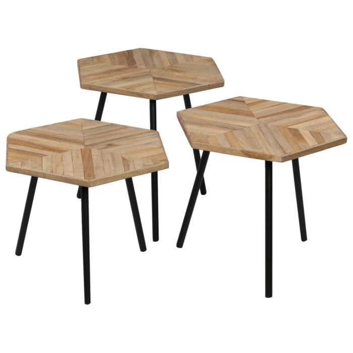 Tidyard Ensemble de Tables Basses 3 pcs | Tables Basses Jardin en Hexagonal  Teck Recyclé
