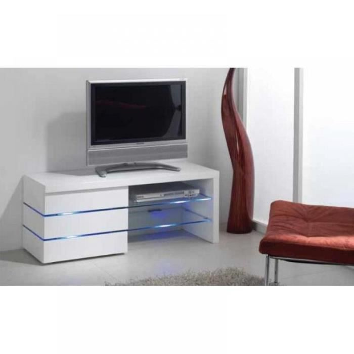 Meuble tv leon blanc brillant et lumi re led achat vente meuble tv meubl - Meuble blanc brillant ...