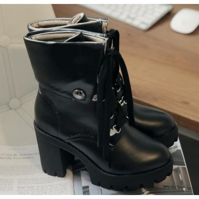 Women Fashion Strap Heels Chunky solides Bottes...