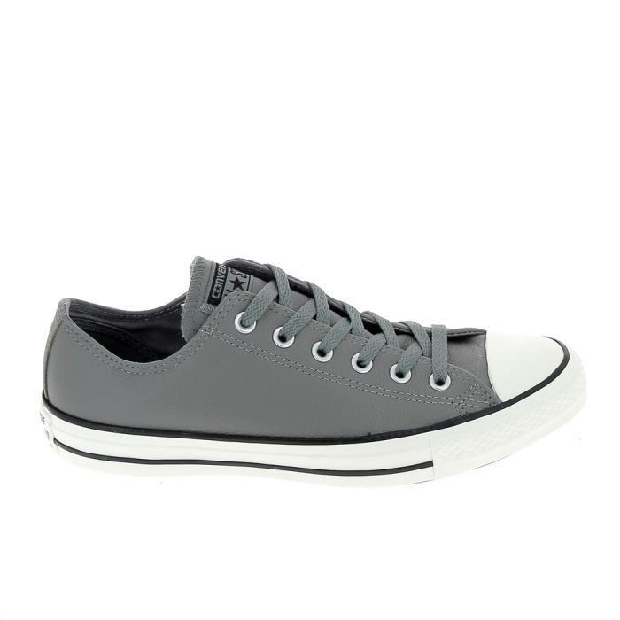 Converse cuir gris