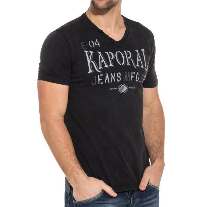 T-shirt homme noir col V imprimé Noir - Achat