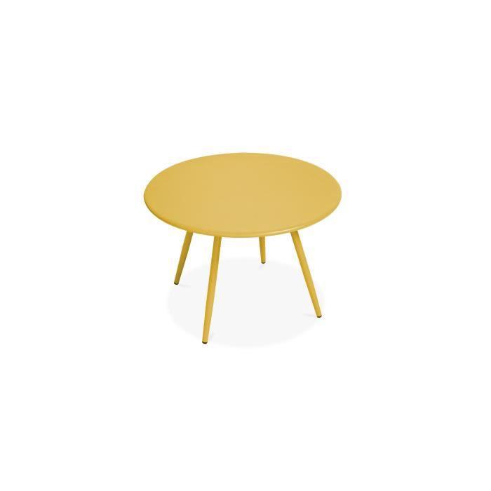 Table basse de jardin ronde en métal - diamètre 40 cm - Collection Palavas
