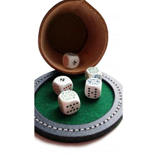 Poker Menteur 5 D/és de Poker Gobelet Cuir