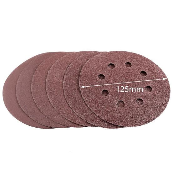 Meules Papier Abrasif détention Velcro 125 mm 60 pièces Mix 40,60,80,120,180,240
