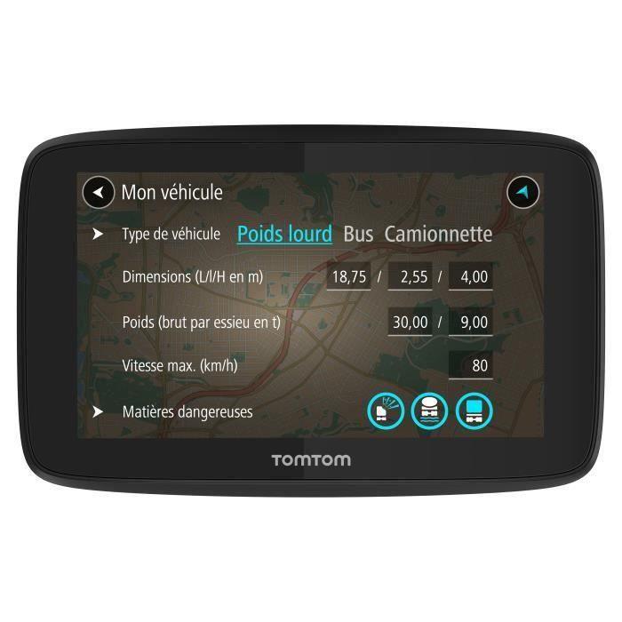 TomTom GO Professional 6250 - GPS poids lourds 6 pouces, cartographie Europe 49 pays, Wi-Fi intégré, carte SIM intégrée, appels main