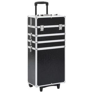 VALISE - BAGAGE Chariot de maquillage Aluminium Noir avec motif de
