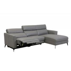 CANAPÉ - SOFA - DIVAN KRISTELL - Canapé d'angle relax électrique gris av