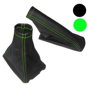 AERZETIX Soufflet levier de vitesse frein /à main coutures vertes
