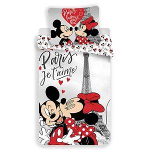 HOUSSE DE COUETTE ET TAIES Disney Minnie et Mickey - Parure de Lit - Housse d