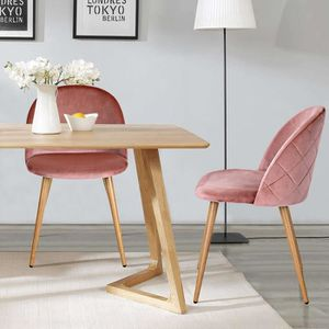 CHAISE HOMY CASA Lot de 2 chaises scandinave rose velours
