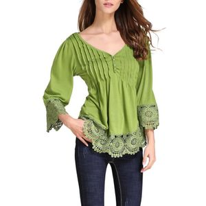 T-SHIRT Women's Flare Sleeve Lace Splice Loose Casual Blou