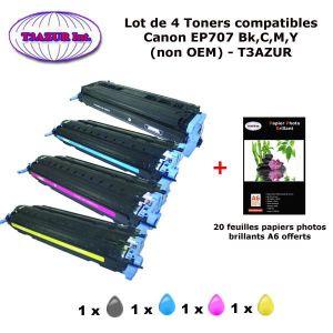 TONER 4 Toners génériques Canon EP707 Bk,C,M,Y pour impr