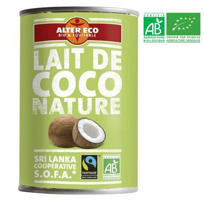 ALTER ECO Lait de Coco Nature Bio 400ml