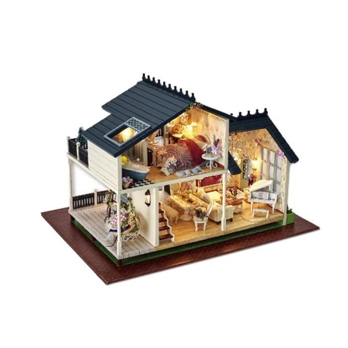 1pc miniature bricolage provence lavande villa maison avec des accessoires de meubles créatif cadeau romantique et les amis non