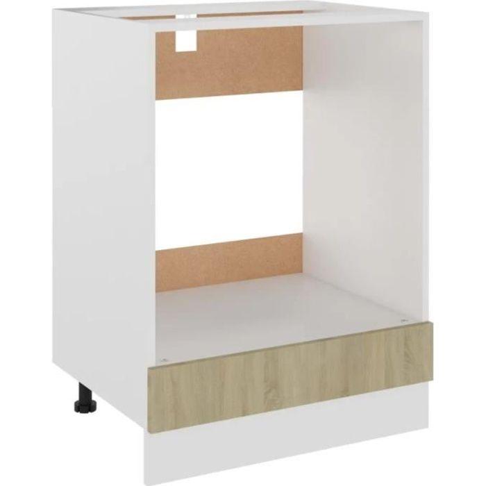 Meuble de cuisine pour four encastrable blanc 60 x 46 x 81,5 cm Aggloméré Effet bois sonoma