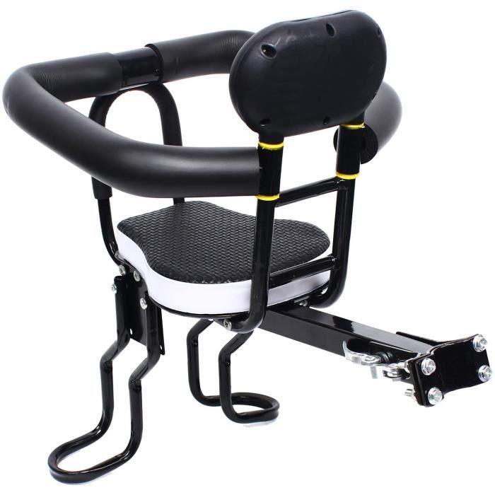 Siège avant de vélo pour enfants, siège avant amovible pour enfants, siège de vélo pour enfants avec poignée, garde-corps et pédale