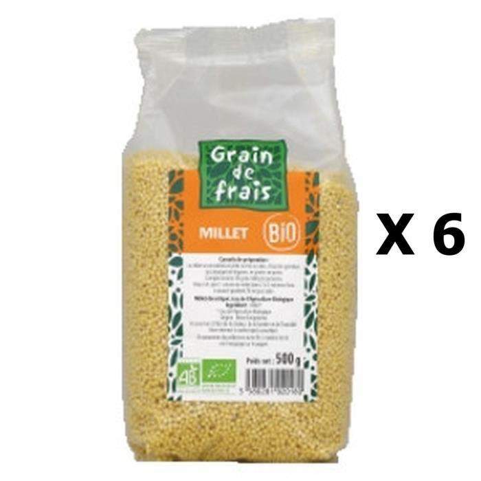 Lot 6x Millet décortiqué BIO - Grain de Frais - paquet 500g