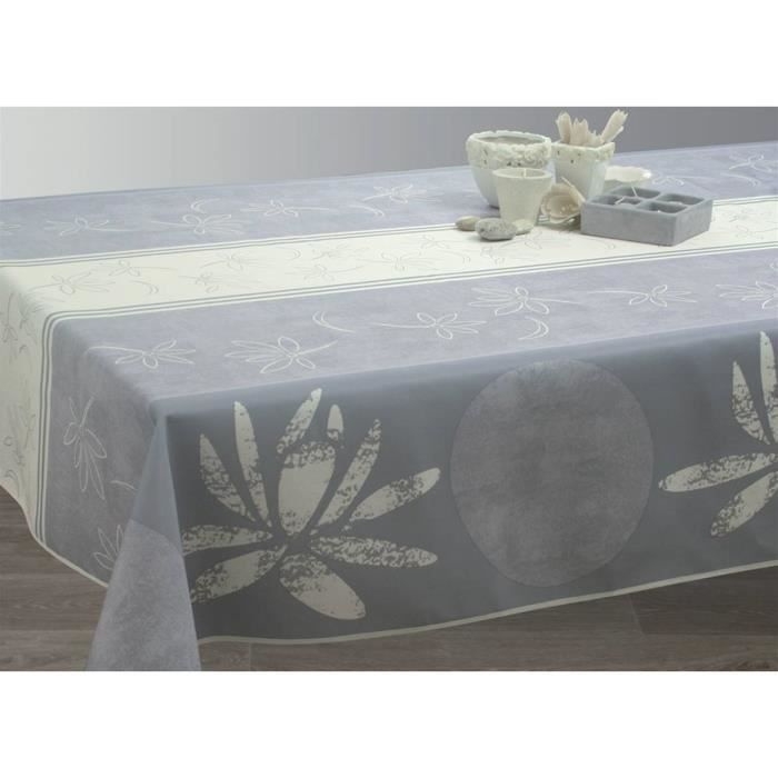 Nappe anti-taches Lotus blanc - taille : Ovale 150x250 cm