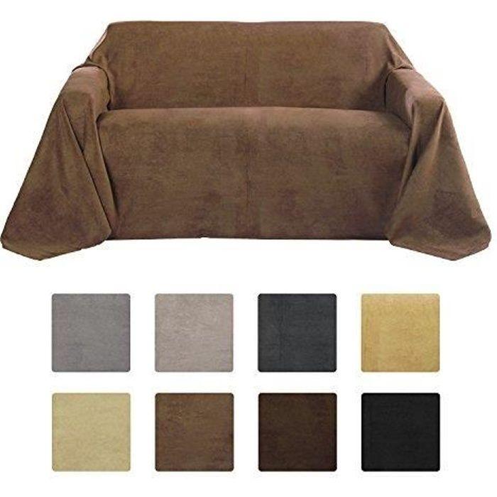 Beautissu Romantica Couverture 210x280cm Marron clair - Plaid - Couvre-lit ou sofa jeté de canapé effet velours