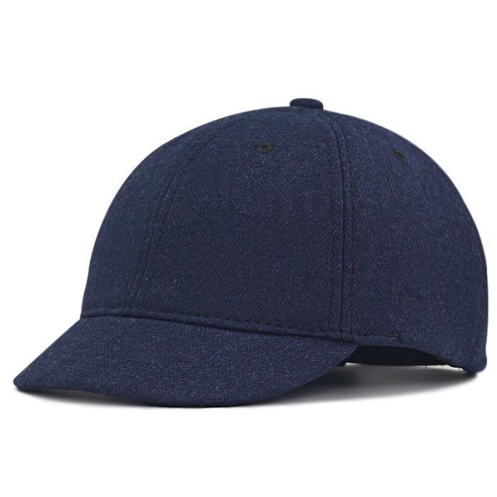 Marine Bleu 61-68cm -2019 hiver Grande Taille Casquettes De Baseball Vieux Hommes Chaud Visière Courte Laine Chapeau Grosse Tête Hom