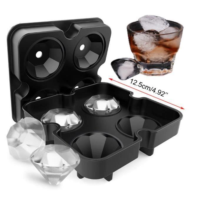 Bac à glaçon DIAMANT en silicone, Sans BPA, 4 cubes, Moule à glaçe - Noir