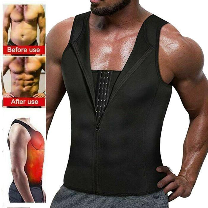 Costume de sauna pour hommes gilet de sport gilet t-shirt en néoprène formateur de taille entraîneur-XXL