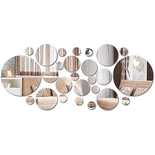 26 pcs Miroirs Muraux Rond, 3D Amovible Miroir Autocollant Stickers avec Adhésif pour Chambre Salon Décoration d'intérieur,156