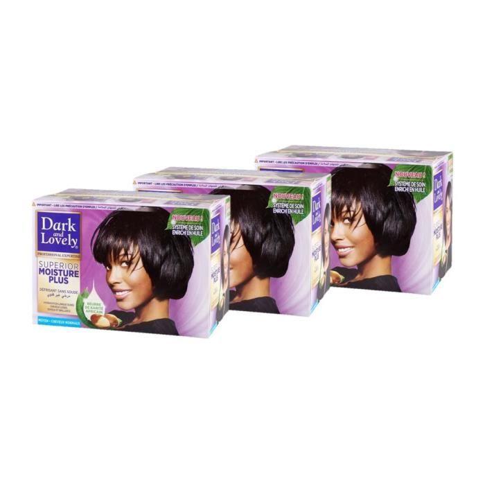 DARK & LOVELY Kit défrisant sans Soude Soin Démêlant Intense Moyen - Beurre de Karité - 359 ml (Lot de 3)