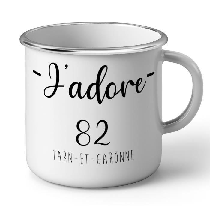 Mug en Métal Emaillé J'Adore 82 Tarn Et Garonne Departement France Region Montauban