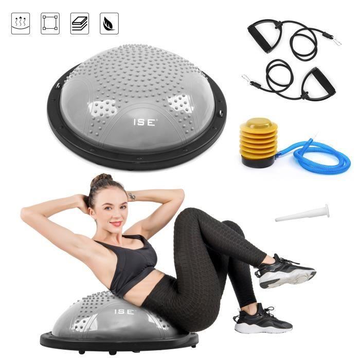 ISE Balance trainer, Demi-Ballon d'Entraînement Ø 59cm,avec Câbles de Resistance et Pompe,pour Yoga, Gymnastique,Gris SY-BAS1001B