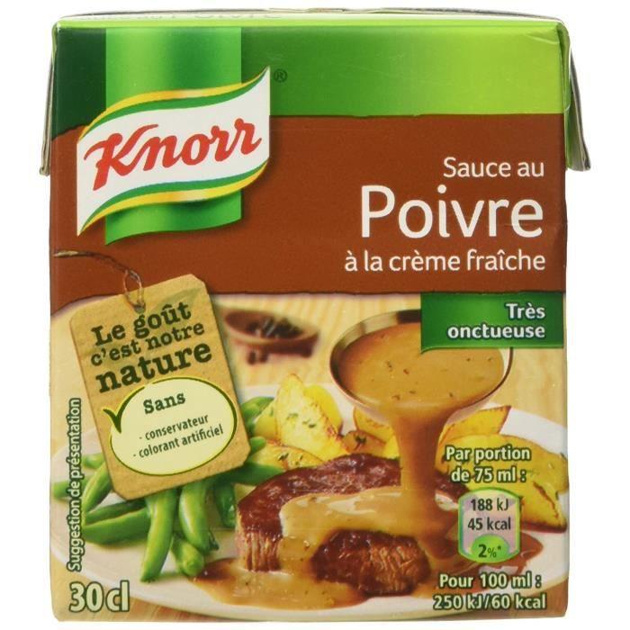 Knorr Sauce au Poivre à la Crème Fraîche 4 Parties 30 cl - Lot de 4
