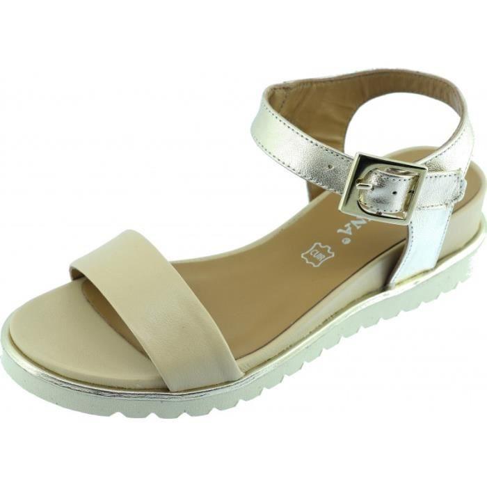 GEMINI - Sandales spartiates chaussures Femme mode et tendance marque Angelina fabriquée en Espagne cuir beige platine