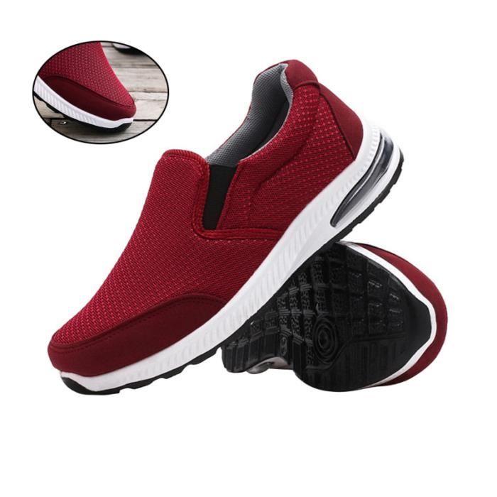 Chaussures de loisirs de sport respirantes de course en maille confortables de pour femmes, dames (rouge, taille 36) BASKET