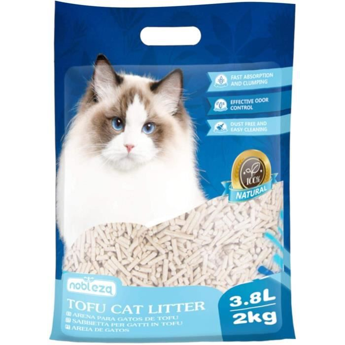 Nobleza - Litière végétale pour chats. 3,8L / 2kg. Produite à partir de résidus naturels de tofu, 100% végétale et biodégradable.