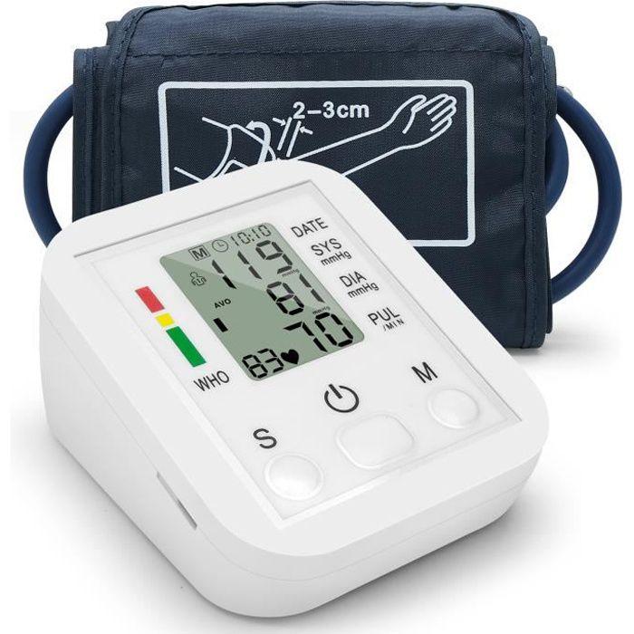 Tensiomètre électronique automatique de style bras supérieur avec grand écran LCD, Mesure précise, alimenté par batterie ou USB