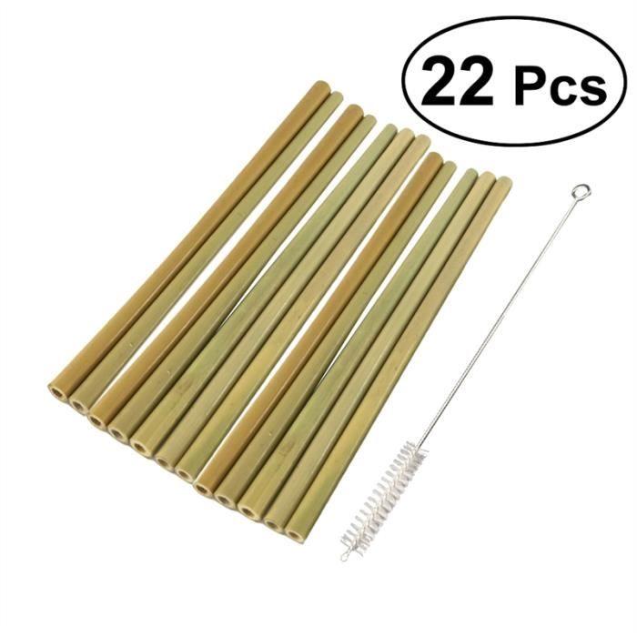 TIGE BOIS - BAMBOU 22PCS 19.5CM Paille de bambou naturel respectueux