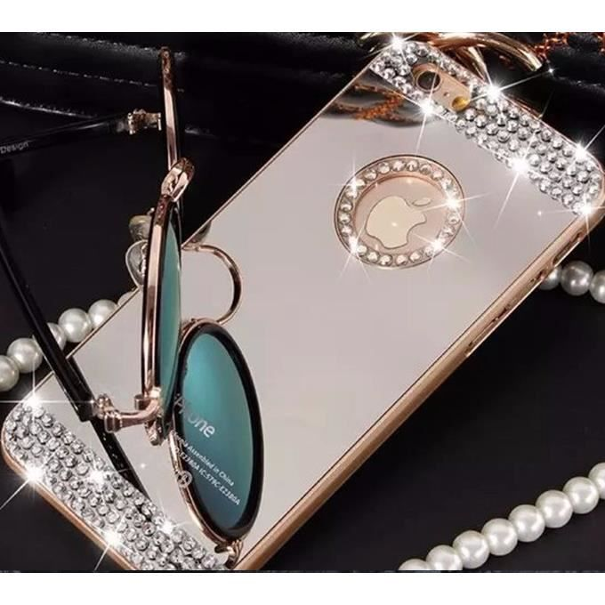 coque iphone 5 5s miroir contour or diamant luxe b