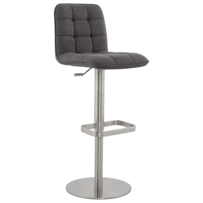 luxe tabouret de bar r glable tissu gris fonc achat vente tabouret de bar cdiscount. Black Bedroom Furniture Sets. Home Design Ideas