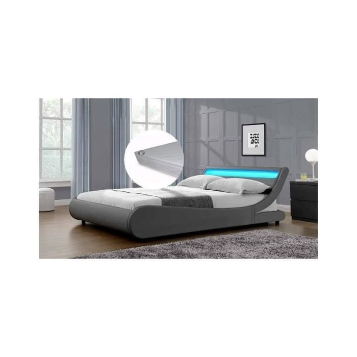 lit saturne gris 140x190cm a leds avec sommier et matelas. Black Bedroom Furniture Sets. Home Design Ideas