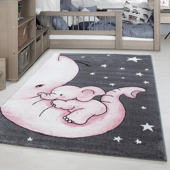 Tapis enfant Elephant Star motif enfants chambre bébé chambre gris rose  blanc [120x170 cm]