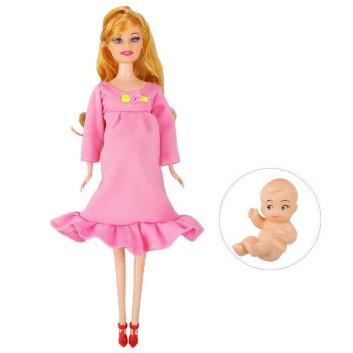 online store lace up in amazing price Poupée enceinte maman a un bébé dans son ventre attrayant jouet Barbie pour  Kid jouet éducatif (rouge foncé)