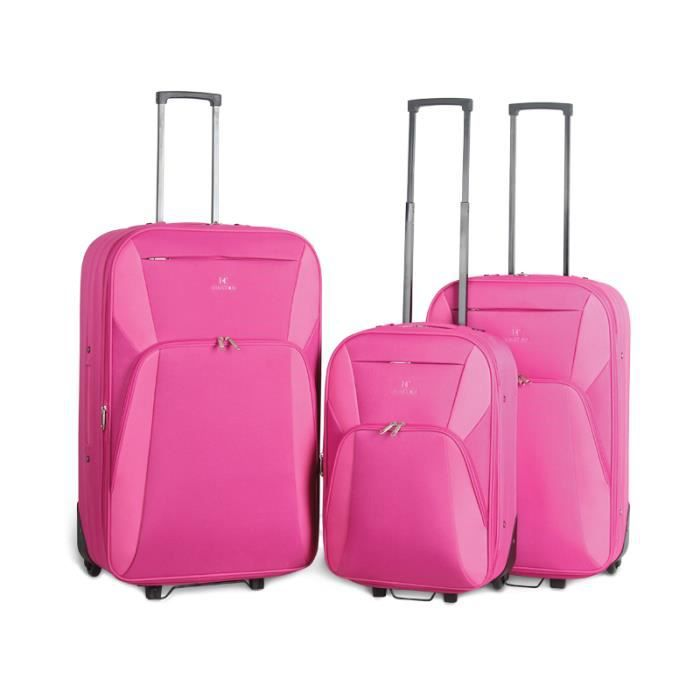 bagage kinston lot de 3 valise tissu 2 roues rose rose achat vente set de valises. Black Bedroom Furniture Sets. Home Design Ideas