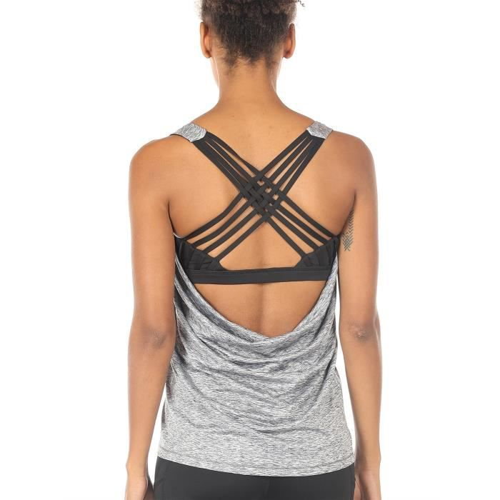 0a9dddd917484 Yoga Tops Workout Clothes Activewear Built In Bra Tank Top For Women ...