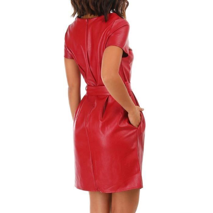 Robe Bordeaux En Simili Cuir Ceinturee Rouge Achat Vente Robe Cdiscount