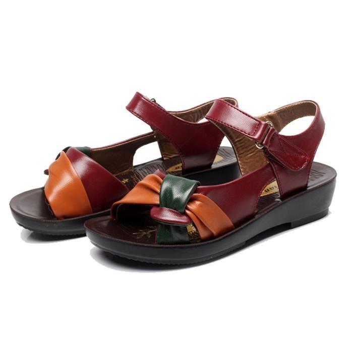 SANDALE - NU-PIEDS Femmes Femmes d'été Mode Sandales noeud en cuir We