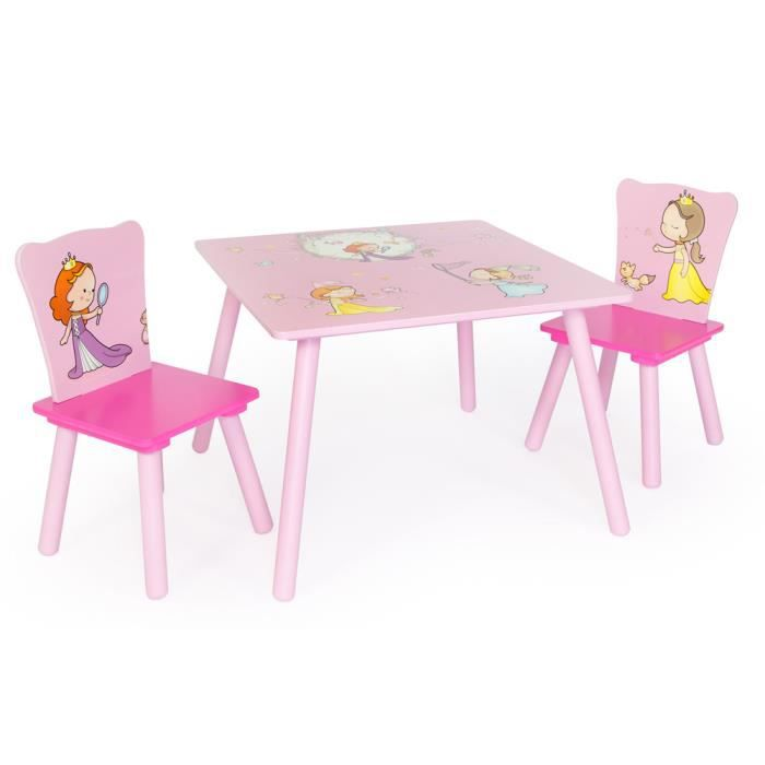 Ensemble table 2 chaises motif princesse achat vente for Table et chaise bebe 2 ans