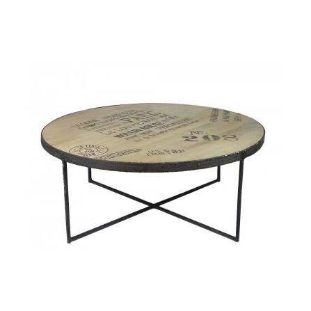 table basse ronde style industriel en bois et m tal noir. Black Bedroom Furniture Sets. Home Design Ideas