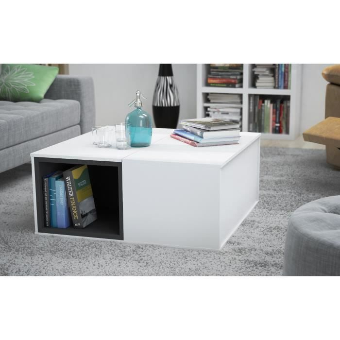 Table basse swithome lucci blanche grise achat vente - Table basse laquee grise ...